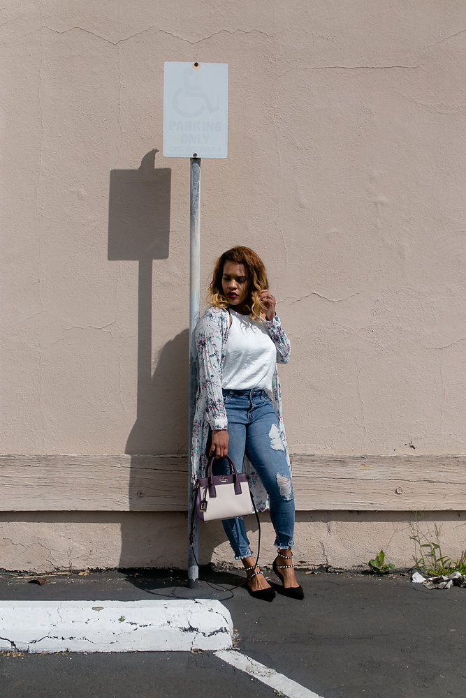 Lifestyle blogger Hautemommie in STS Blue distressed denim and flower duster from Zara