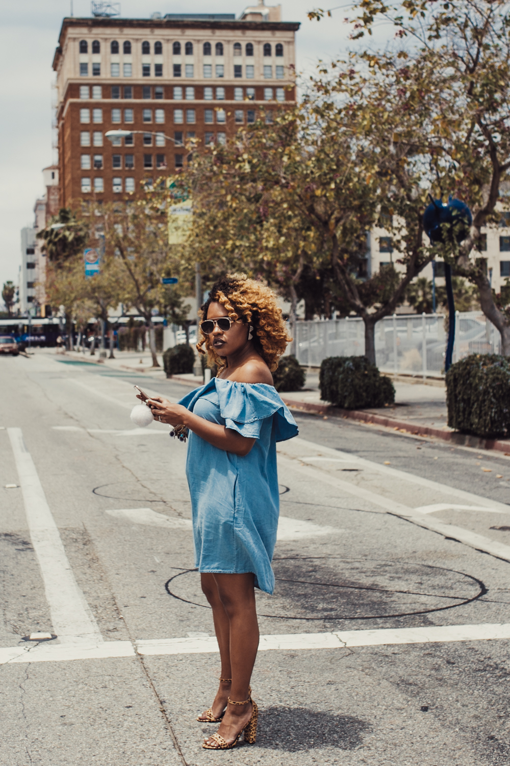Stopping Traffic in Denim Zara Dress + Leopard Heels | https://thehautemommie.com/denim-zara-dressleopard-heels/