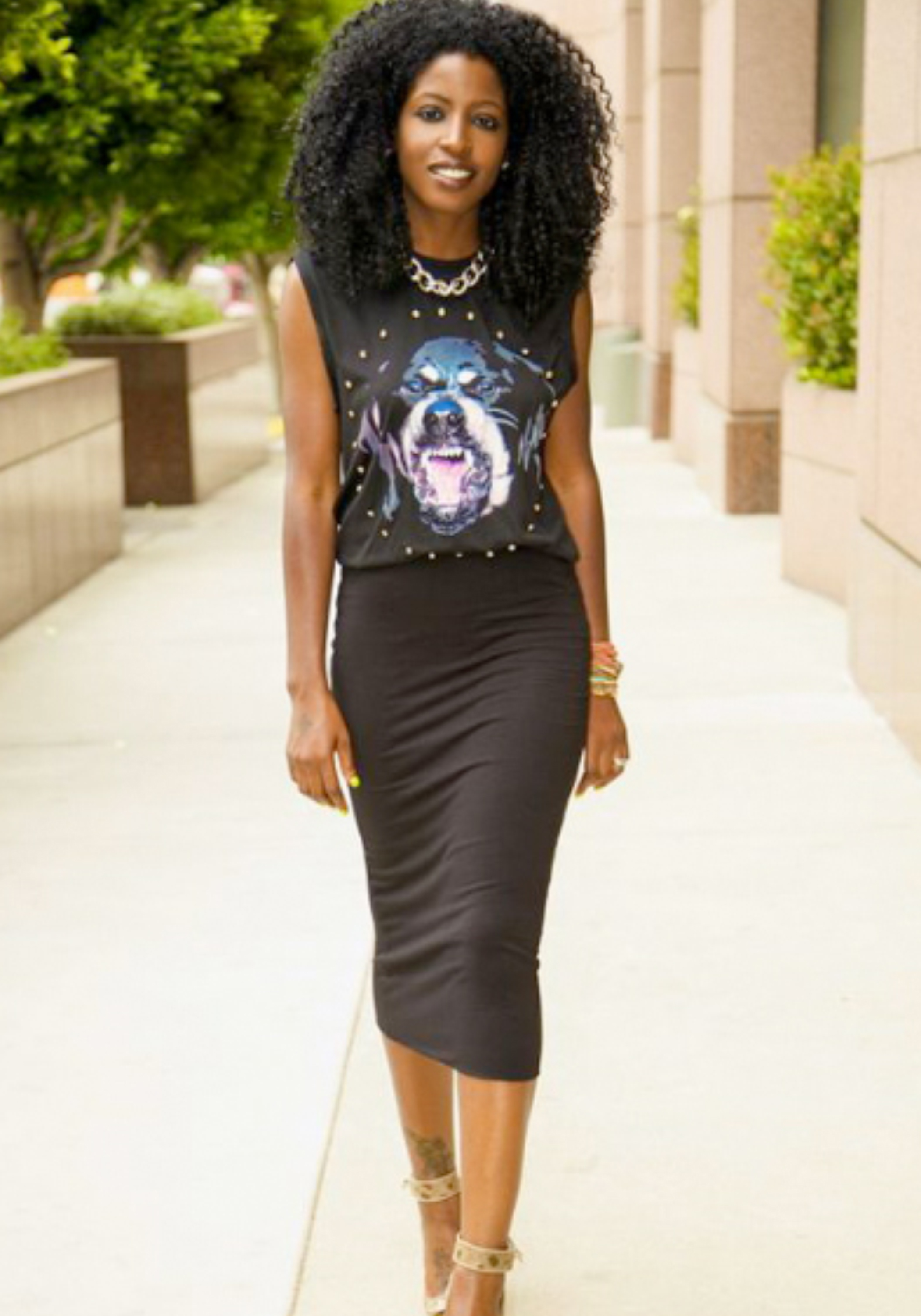 Black Midi Skirt + Givenchy Rottweiler Muscle Tee | https://thehautemommie.com/haute-style-midi-skirts-tee-shirts/