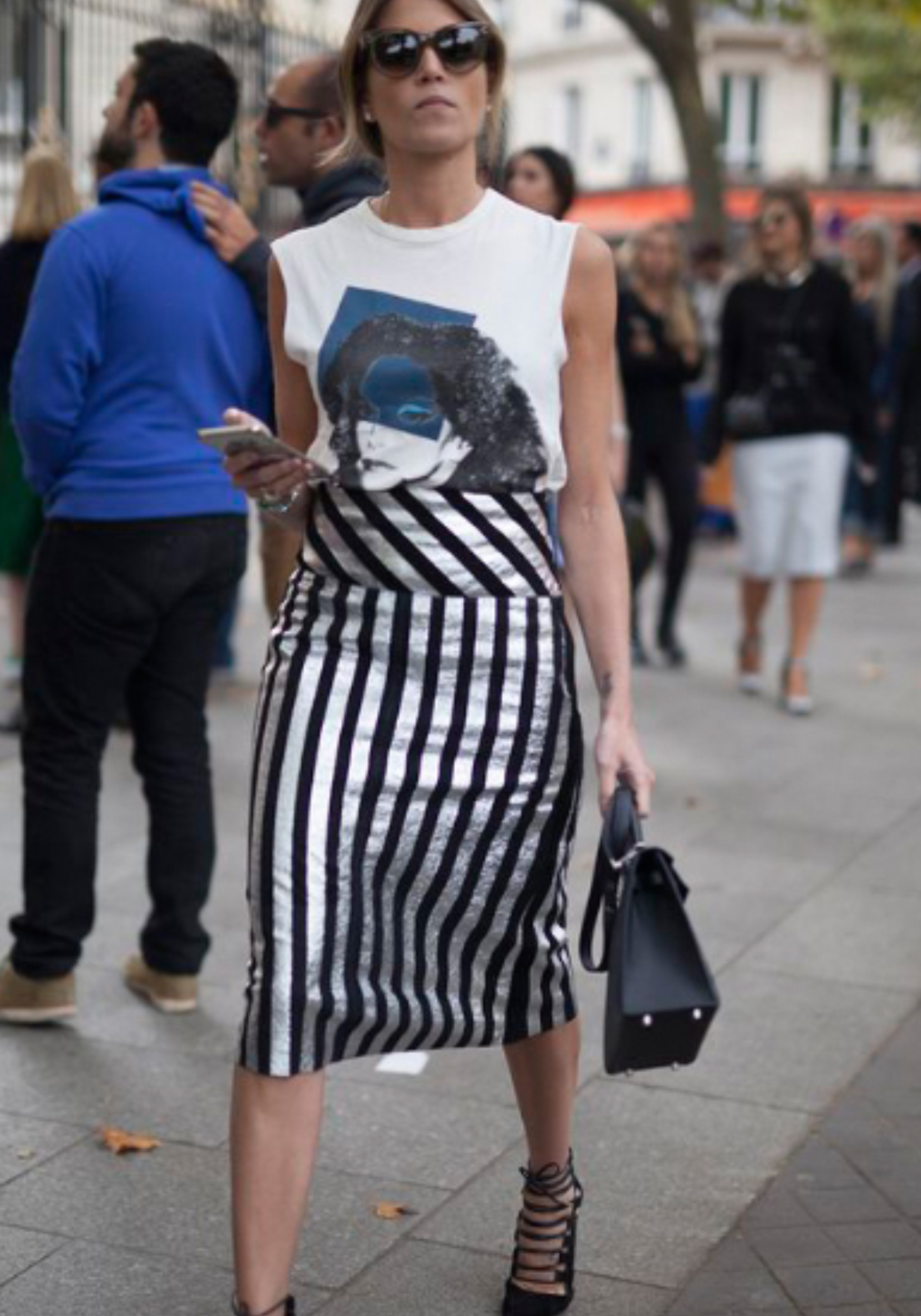 Striped Pencil Skirt + Graphic Muscle Tee | https://thehautemommie.com/haute-style-midi-skirts-tee-shirts/