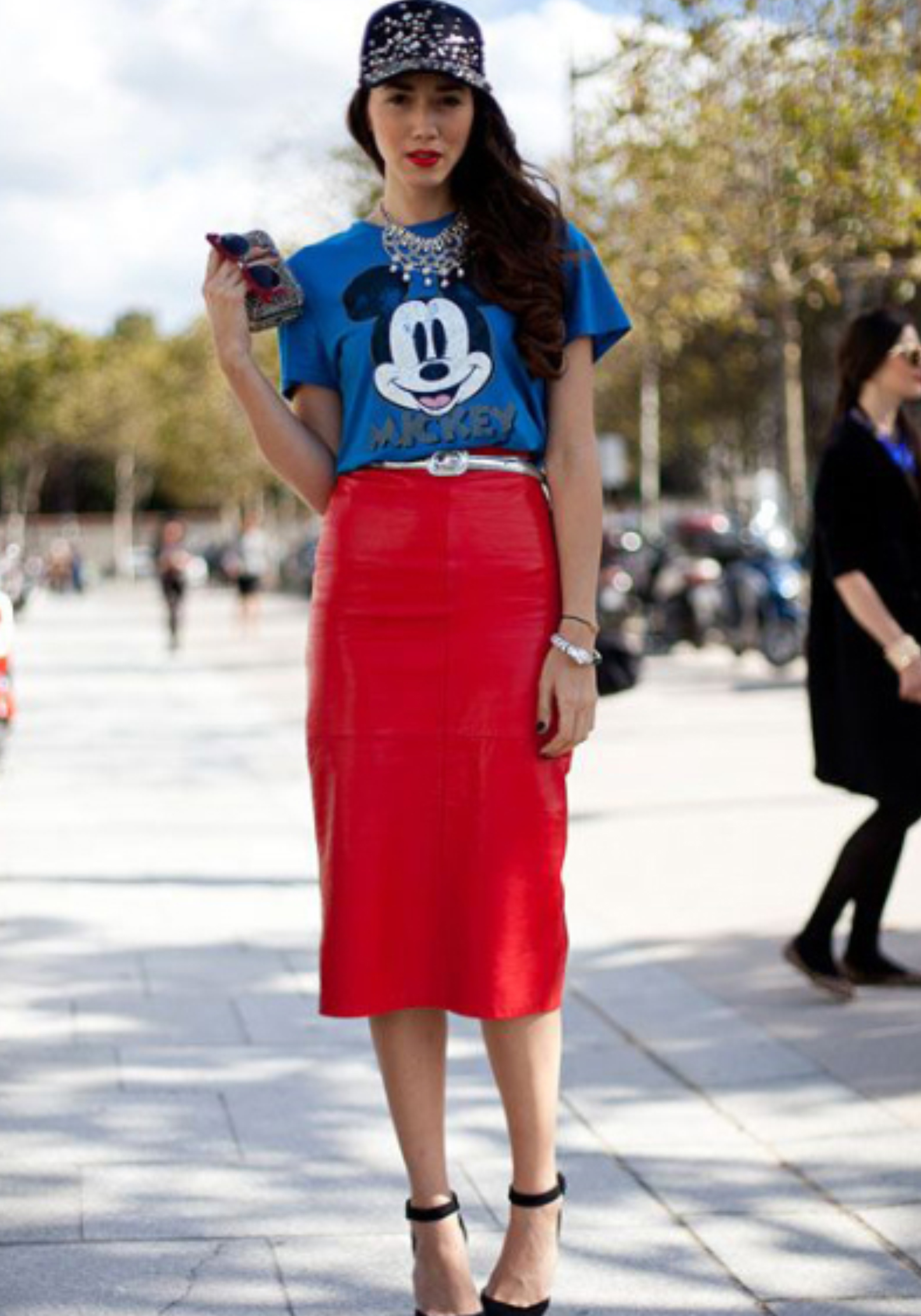 Red Pencil Skirt + Mickey Mouse T-Shirt | https://thehautemommie.com/haute-style-midi-skirts-tee-shirts/
