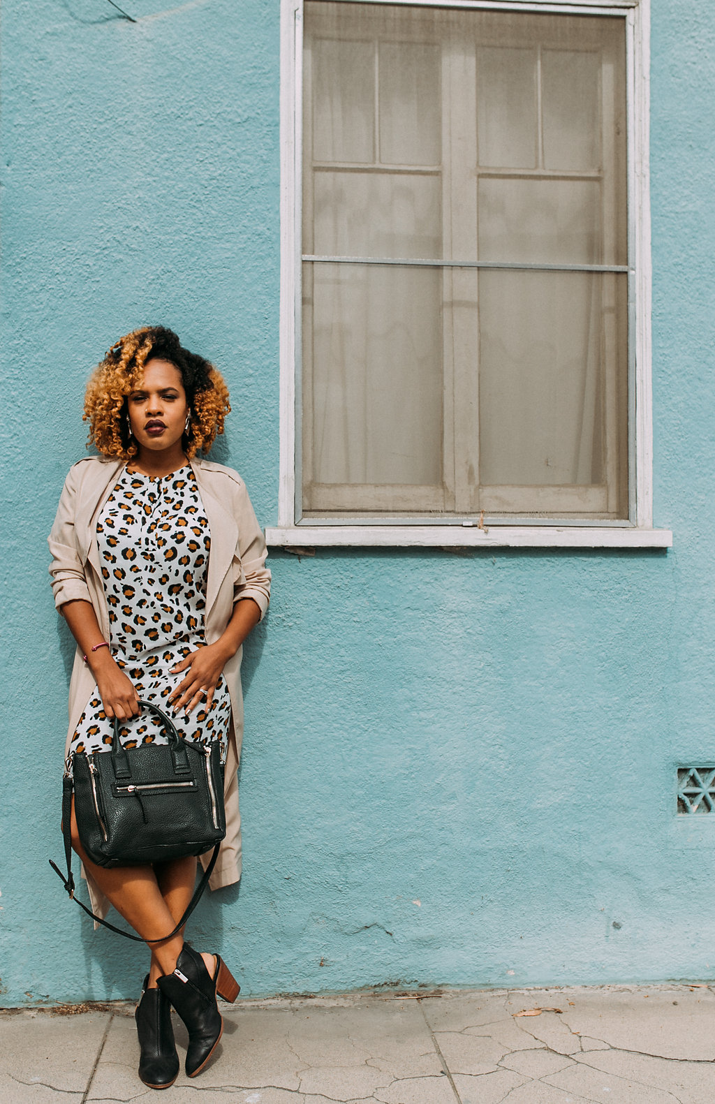 Leopard is a neutral / Dress - H&M (old) / Trench - RO&DE / Bag - Mango / Boots - Dolce Vita | https://thehautemommie.com/transitional-pieces/