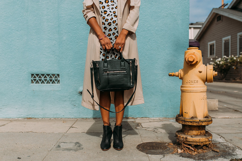 Accessorize. Bag - MNG / Bracelet - Fadia Kader / Booties - Dolce Vita | https://thehautemommie.com/transitional-pieces/
