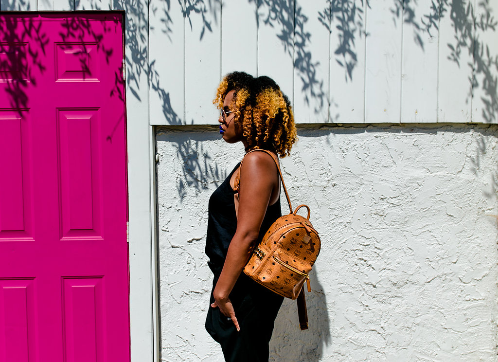 MCM Backpack + Curly Hair Girls // https://thehautemommie.com/pop-of-color/