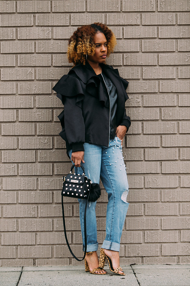Hautemommie in ruffled ASOS bomber wears natural hair