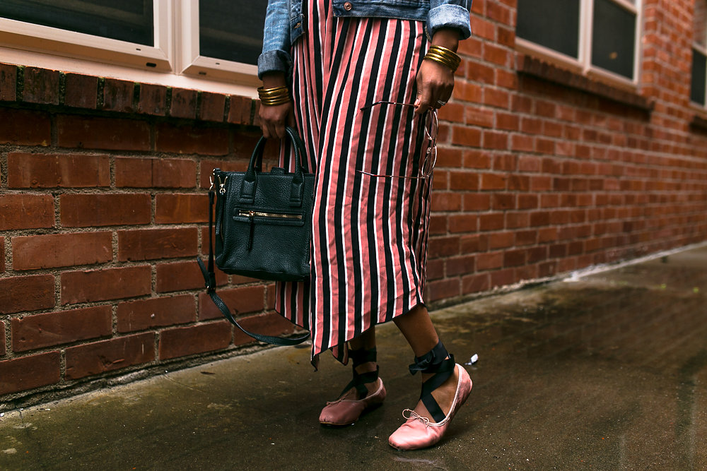 Outfit Details: Zara striped dress, Mange purse, Zara ballet slippers
