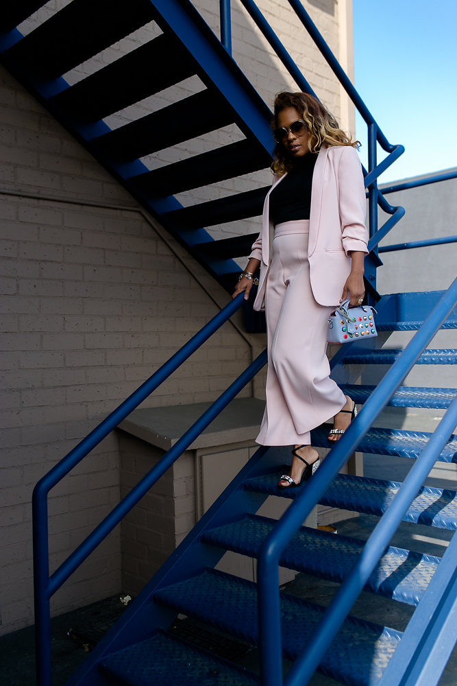 Hautemommie rocks Zara pink suit and Chloe sunglasses