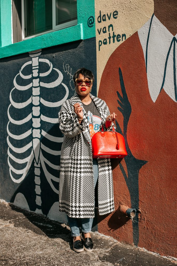 Blogger @hautemommie poses for a photo in Long Beach, CA