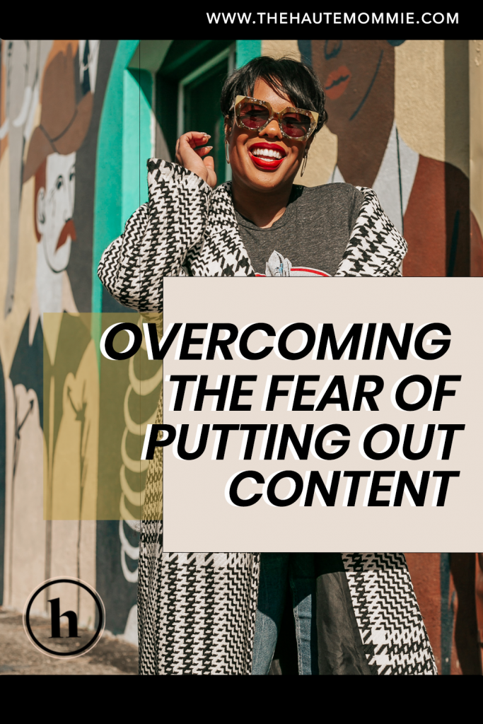 Pinterest graphic about overcoming fear in content creation