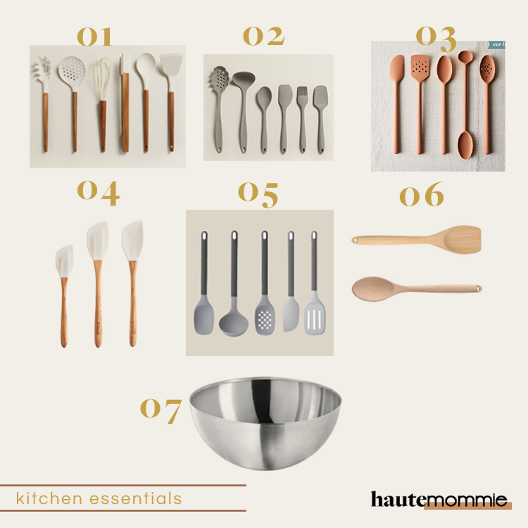 Collage photo of must have kitchen utencils