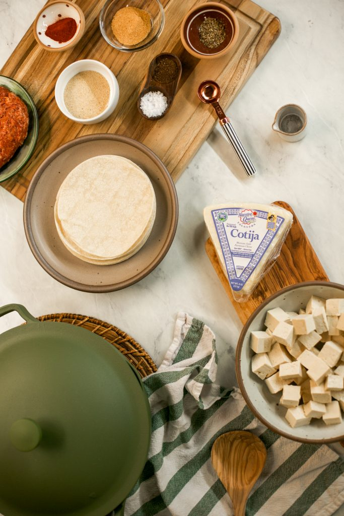 Picture of ingredients for chorizo tofu tacos