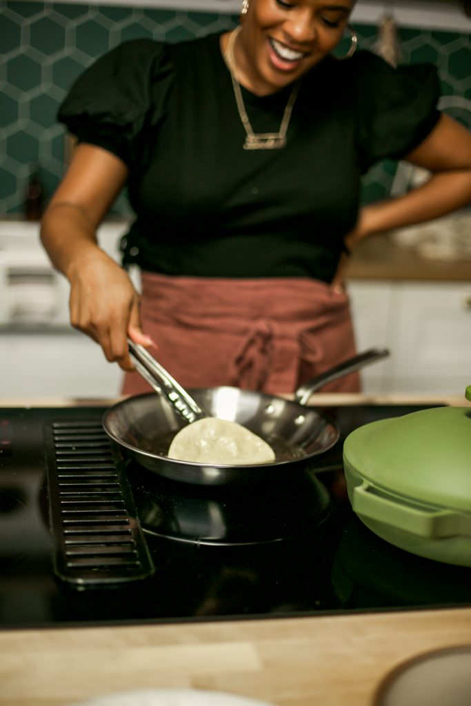 TV Chef Leslie Antonoff demonstrates how to fry the perfect taco shell in an All Clad pan.
