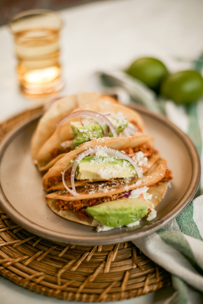 Photo of chorizo tofu tacos by Leslie Antonoff of The Hautemommie