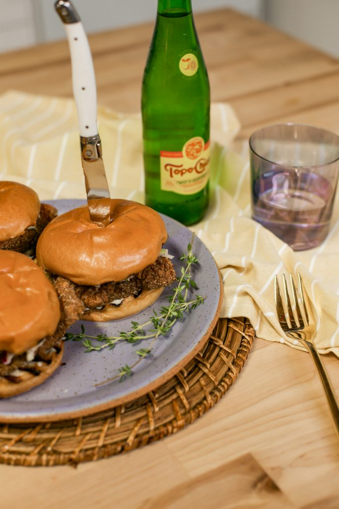 Photo of a fried catfish sandwich made by celebrity home cook, Leslie Antonoff of TheHautemommie EATS and Butter + BROWN.